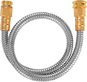 TOUCH-RICH 304 Stainless Steel Garden Hose, Lightweight Metal Hose, Guaranteed Flexible and Kink Free (3FT, Stainless)