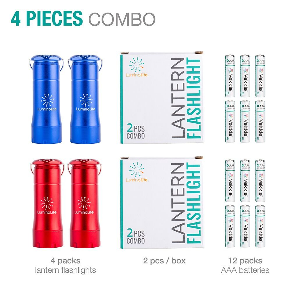 Survival Gear for Camping 200 Lumens Smallest Lantern Emergencies Blue /& Red Pocket Size 35 Hours Shining 2 in 1 LED Lantern Flashlights 4 Pack with 12 AAA Batteries Hurricane /& Outage