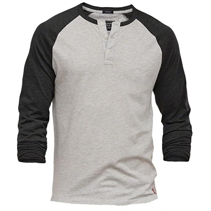 18a1a3c5a7ce2a Abercrombie uomo Muscle Fit camicia manica lunga baseball Henley Grey and  Navy Large: Amazon.it: Abbigliamento
