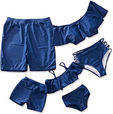 IFFEI Family Matching Swimwear Two Pieces Bikini Set Halter Bathing Suit Mommy and Me Beach Wear