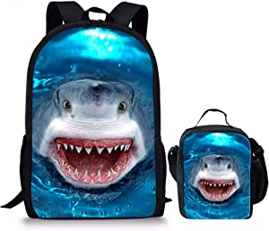 Shark Teens Backapck for Boys Primary School Student Bookbags Childrens Casual Camping Daypack with Lunch Bags Shoulder Blue