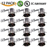Sunco Lighting 12 PACK - 6'' inch Remodel LED Can Air Tight IC Housing LED Recessed Lighting- UL Listed and Title 24 Certified