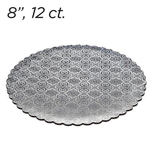 8 Silver Scalloped Edge Cake Boards 12 ct