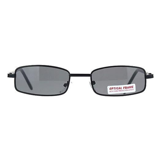 db0bd01a96 SA106 Extra Small Mens Rectangular Metal Rim Classic Color Lens Sunglasses  (Black Black