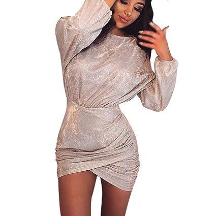 6707c554234f Amazon.com  Women s Glitter Squin Long Sleeve Tulip Bodycon Dress ...