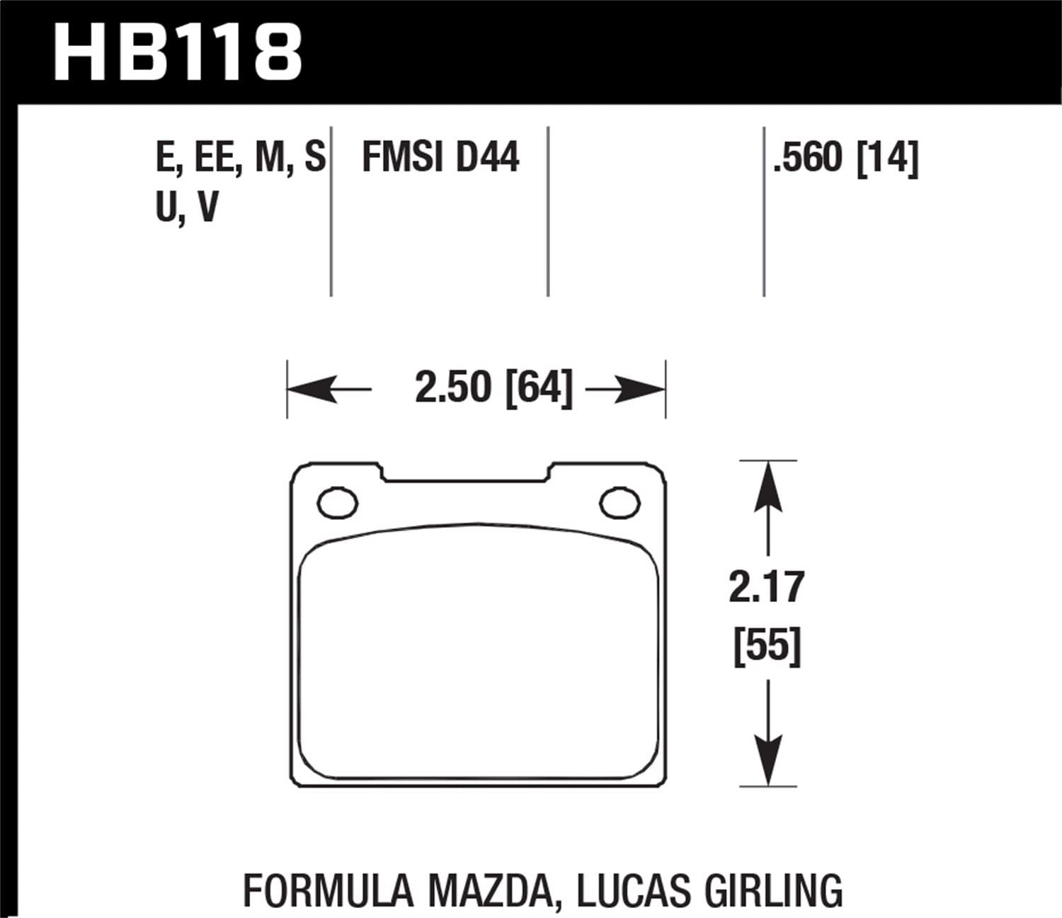 Hawk Performance HB118V.560 Disc Brake Pad