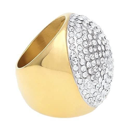 82bc888154a33 HongBoom Hot Hip Hop Rings 18K Gold Plated CZ Crystal Fully Iced-Out Bling  Bling Ring