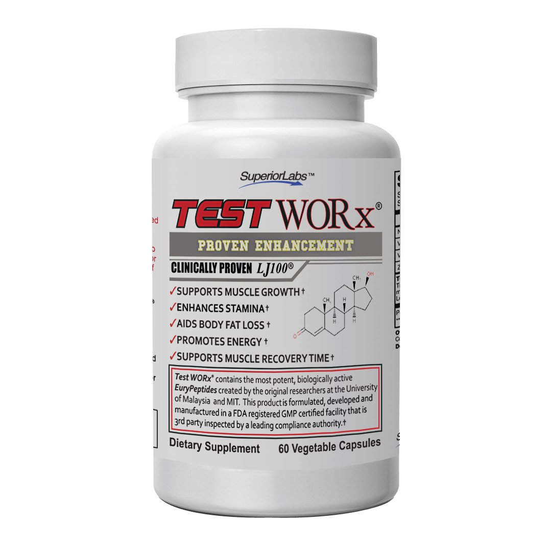 Superior Labs TEST WORx Natural Testosterone Booster With Clinically Proven LJ100 and 8 Other Powerful Ingredients