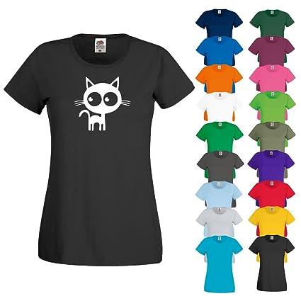 Printized Camiseta para Mujer con diseño Impreso de Gato y Gatito con Dibujos Animados y Texto