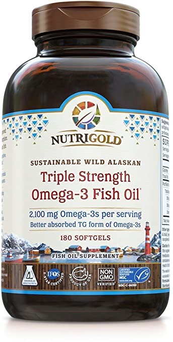 Product thumbnail for Nutrigold Triple Strength Omega-3 Fish Oil Supplement