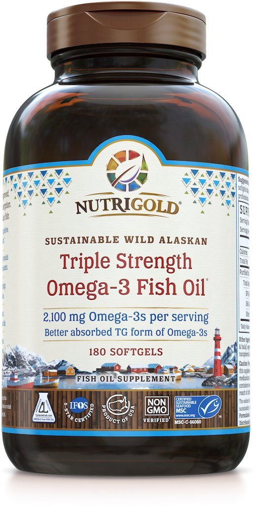 Nutrigold Triple Strength Omega-3 Fish Oil Supplement, 2100 mg, 180 Softgels