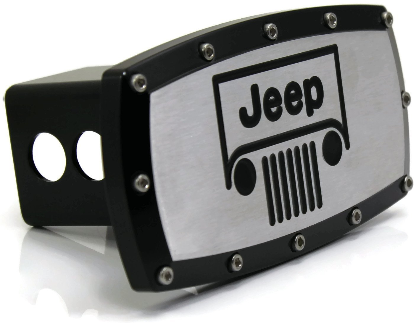 Jeep Vehicle Logo 2'' Tow Hitch Cover Plug Engraved Billet Black Powder Coated by Elite Automotive Car Beyond Store