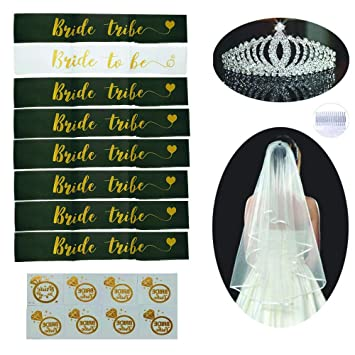 Bachelorette Party Decorations Sash and Tiara Kit - Bride to Be   Bride  Tribe Sashes  93600432c9aa