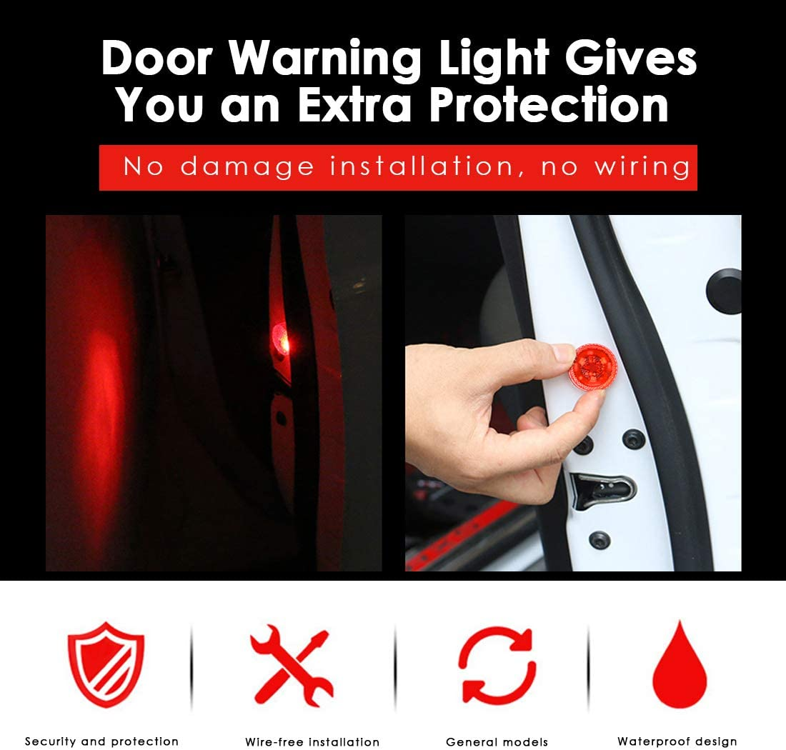 Maodaner 4 PCS Universal Wireless Car Door LED Warning Light Strobe Flashing Anti Collision Signal LED Safety Lamps Red