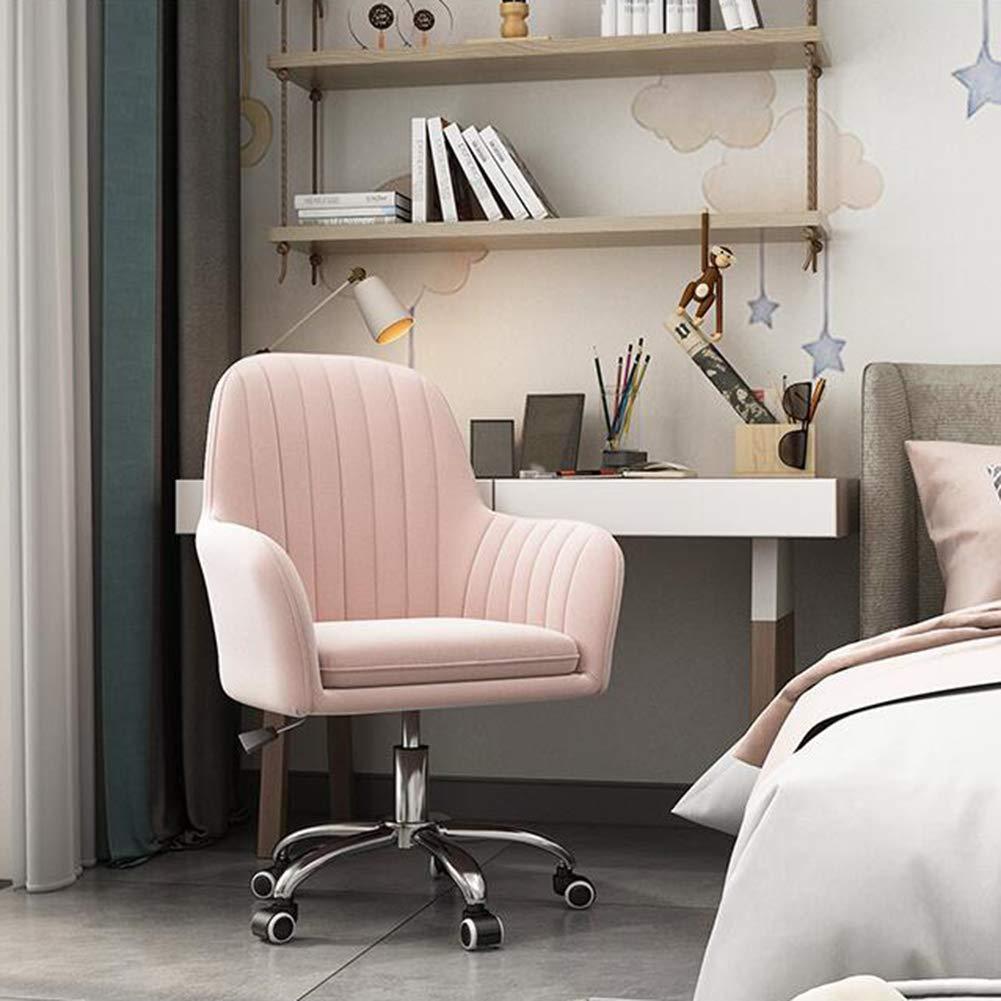 Swivel datorstol, ergonomisk design, sammetskudde, hemmakontor skrivbordsstolar, justerbar höjd, lätt att montera (färg: mörkgrå) Rosa