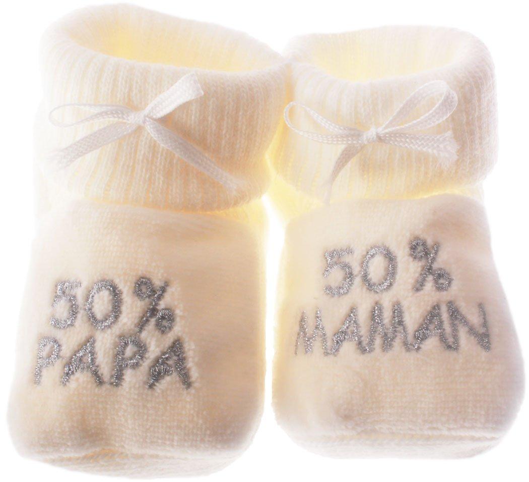 Chaussons bébé brodés 50%papa 50%maman beige/argent 0/3mois Happy baby