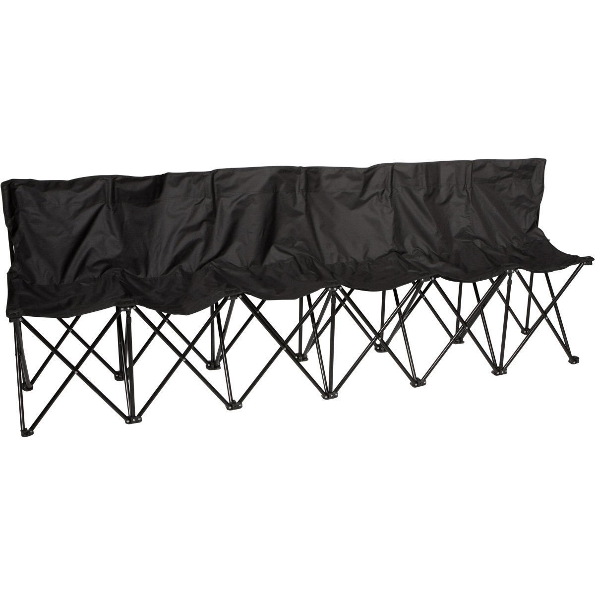Tekウィジェットポータブル折りたたみ6 Seaterサイドラインベンチ椅子with Carryingバッグ B0734G5J53 ブラック ブラック