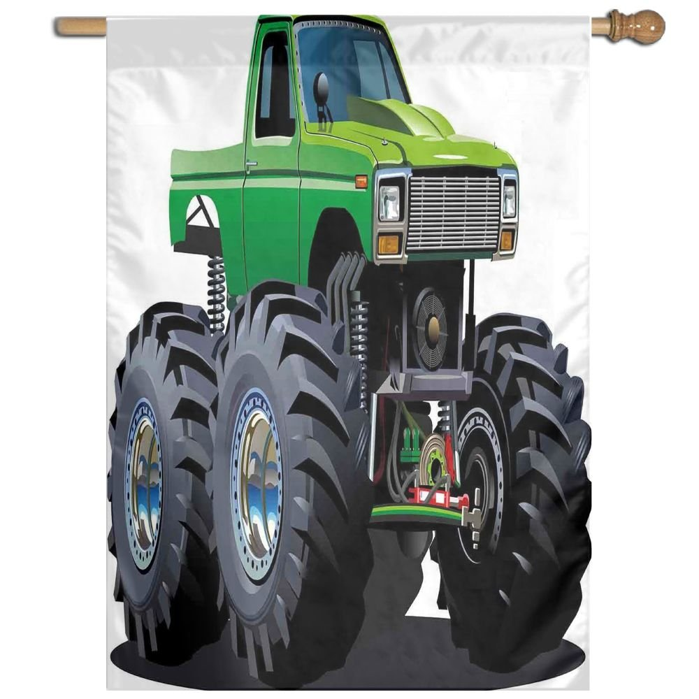 HUANGLING Giant Monster Pickup Truck With Large Tires And Suspension Extreme Biggest Wheel Print Home Flag Garden Flag Demonstrations Flag Family Party Flag Match Flag 27''x37'' by HUANGLING