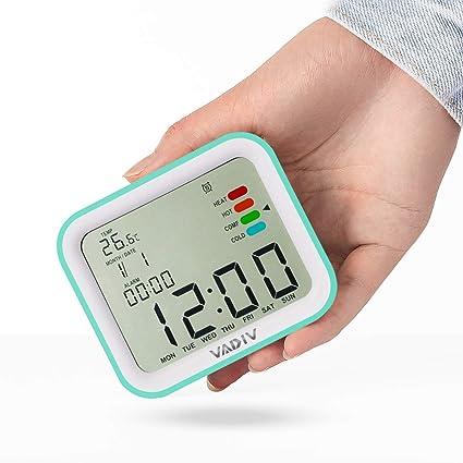 Reloj Despertador Viaje Digital Portatil, VADIV Función de Despertador, Alarmas Programables, Pantalla Retroiluminada, Fecha Indicador Confort ...