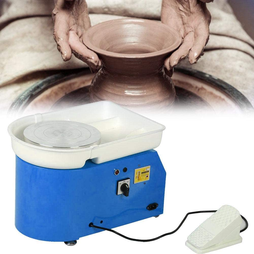 250W Blue UK Pottery Wheel Forming Machine 25CM Electric Pottery Wheel DIY Machine 250W with Pedal-Controlled Removable Bowl Ceramic Art Tool for Ceramic Work Clay Art Pottery Wheel