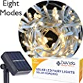 DeVida Warm White Solar String Light on White Cord, Hassle Free 100 LED Outdoor Waterproof Set for Decorative Wedding Arch, Picket Fence, Wall, Tree, Patio, Easy Install