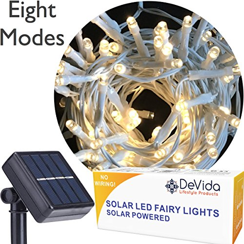 DeVida Warm White Solar String Light on White Cord, Hassle Free 100 LED Outdoor Waterproof Set for Decorative Wedding Arch, Picket Fence, Wall, Tree, Patio, Easy Install (Warm White on White Wire)