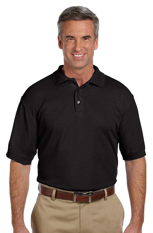 Harriton Men's Blend-Tek Wrinkle-Release Polo Shirt, BLACK
