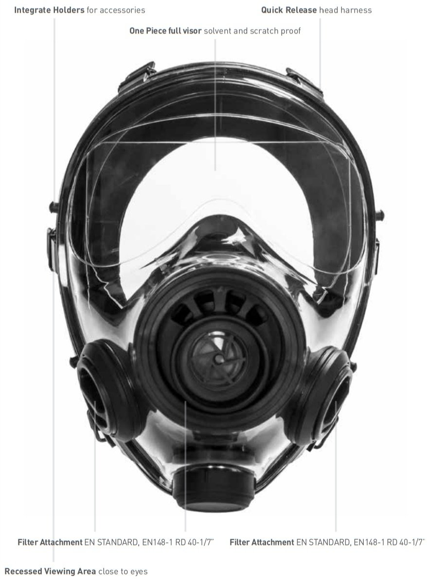Mestel Safety - Full-face Gas Mask, Anti-Gas Respirator Mask - Resistant to Chemical Agents and Aggressive Toxic Substances - Suitable for Pesticide and Chemical Protection - SGE 400/3 BB S/M by Mestel Safety (Image #3)