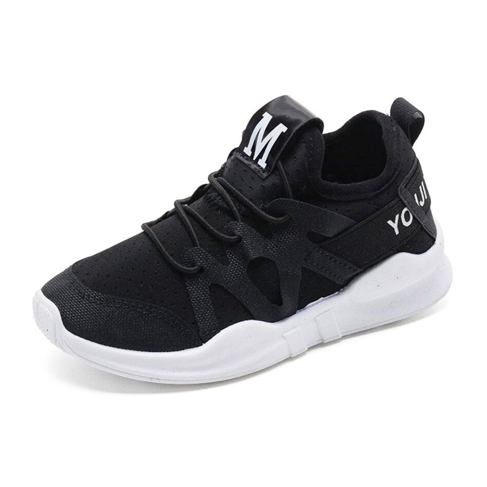 Daclay Children Breathable Shoes Elastic Lycra Cloth Sports Fashionable Running All-Matching Student White Shoes (【33】 US 1.5 (20.3cm), Black)