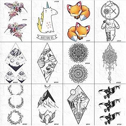 Tatuaje Floral Negro Pegatina Cuerpo Brazo Arte Lotus Tatuaje ...