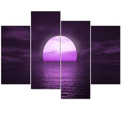 Amazon.com: Visual Art Decor Fancy Purple Wall Art Sunset on Sea ...