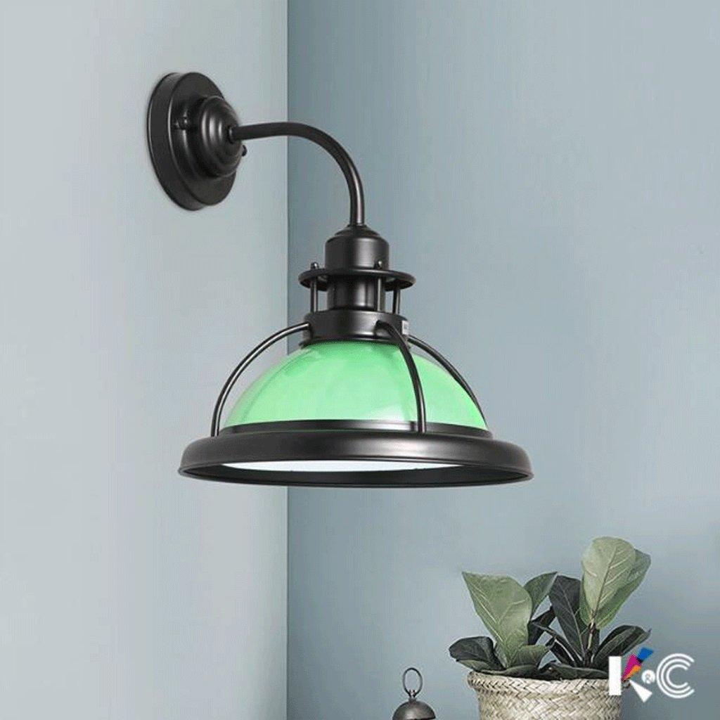 Lámpara de pared GAODUZI Hierro Simple Retro Industrial Viento Led Pasillo Curvado Balcón Bar Personalidad LED Lámpara (Color : Verde, Tamaño : Luz Calida)