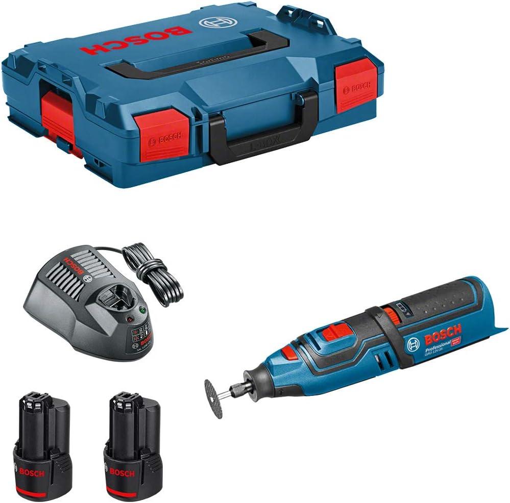 Bosch GRO 12V de 35Professional batería giratorio Herramientas en L-Boxx con 2x GBA 6,0Ah Batería Y Gal 1230CV Cargador