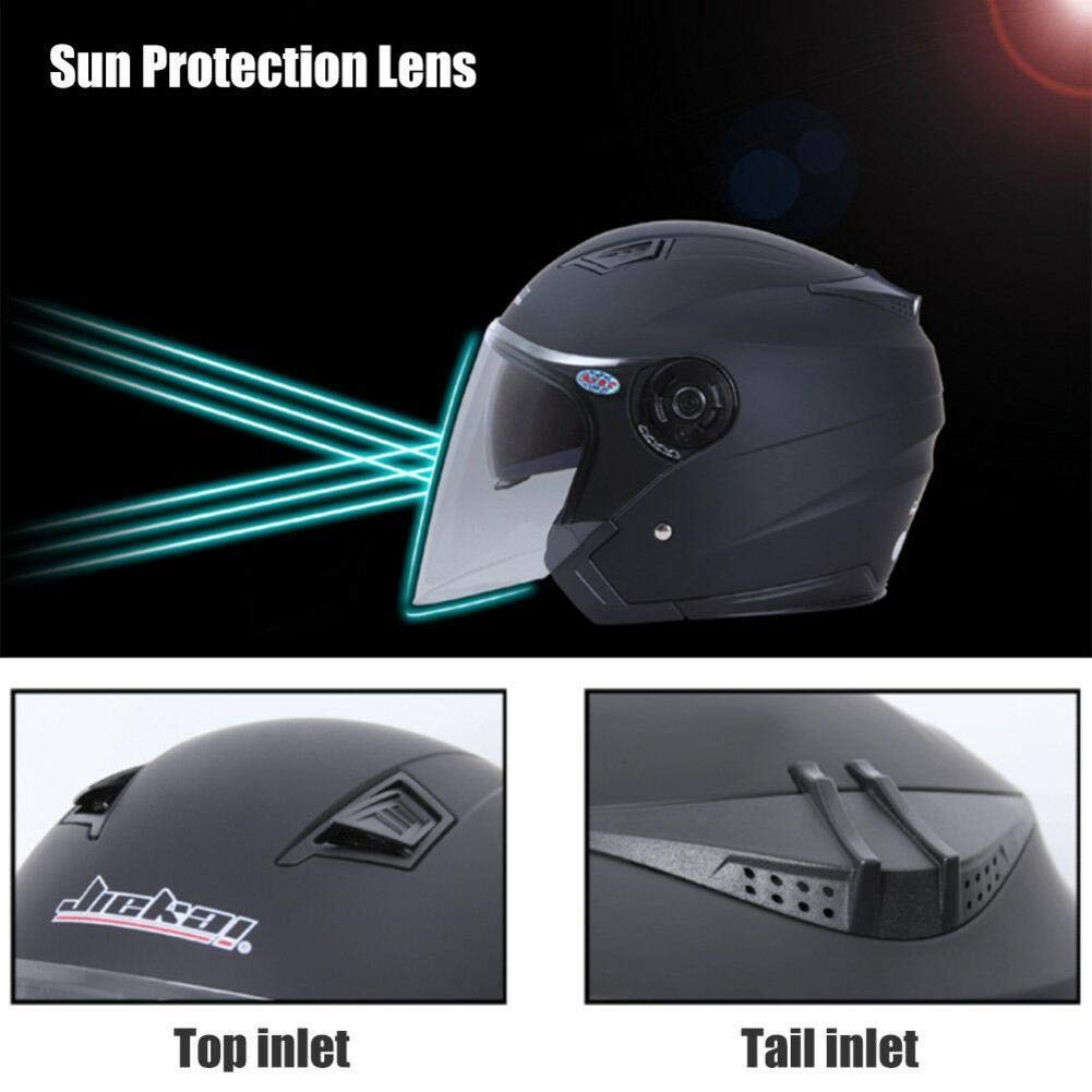 Double Lens Helm ZHIXX MALL Klapphelm Integralhelm ,Blendung Vermeiden Motorradhelm Roller Sturz Helm Mattschwarz, XXL