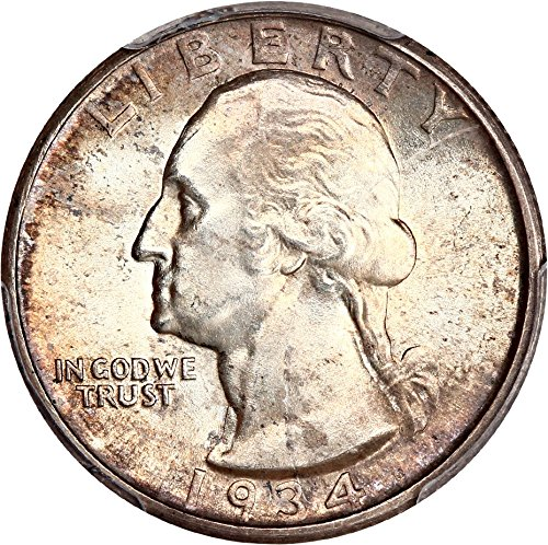 1934 D Washington Quarters (1932-98) Medium Motto Quarter MS64 PCGS