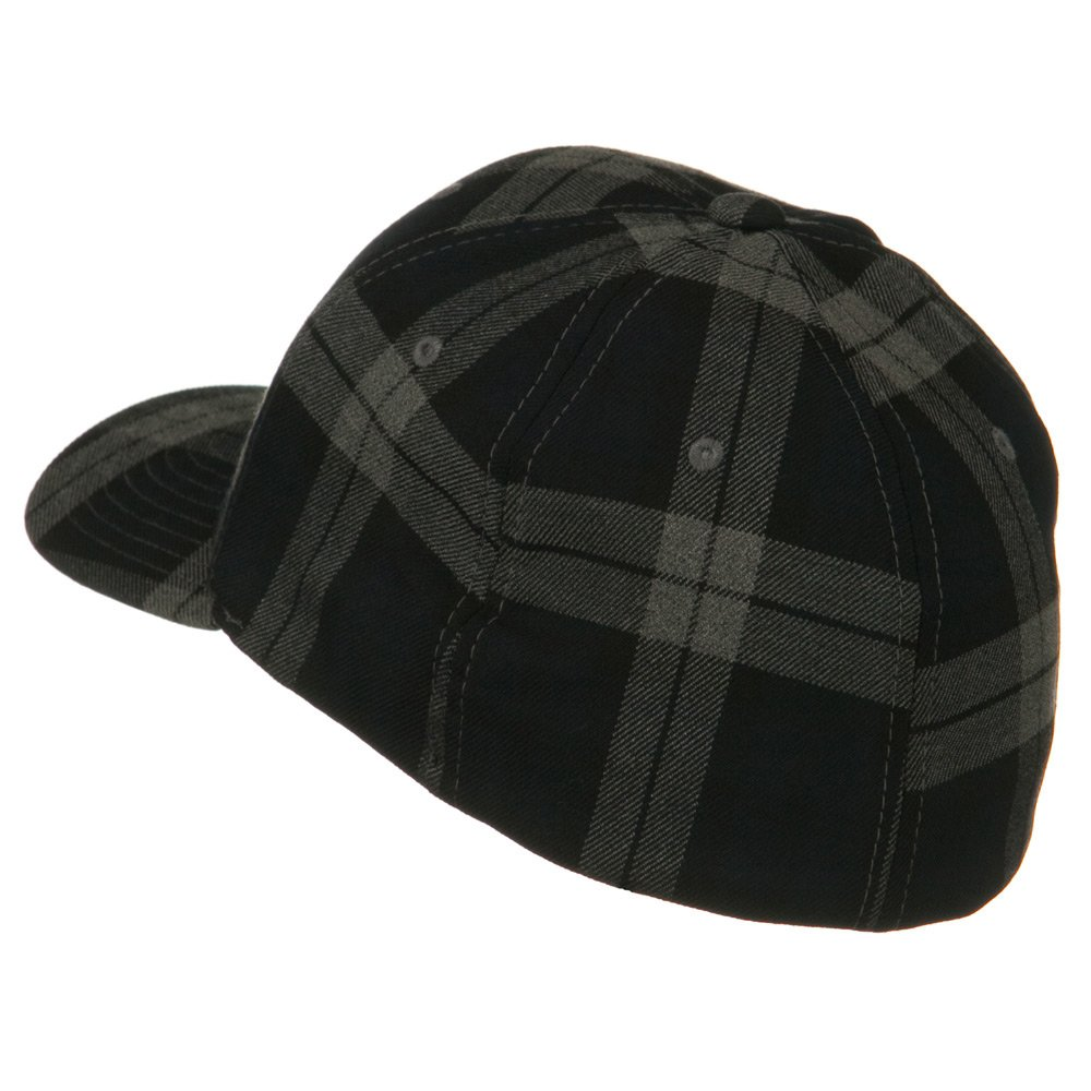 aa4f79adce4 Flexifit Tartan Plaid Cap - Black Grey S-M at Amazon Men s Clothing store  Baseball  Caps