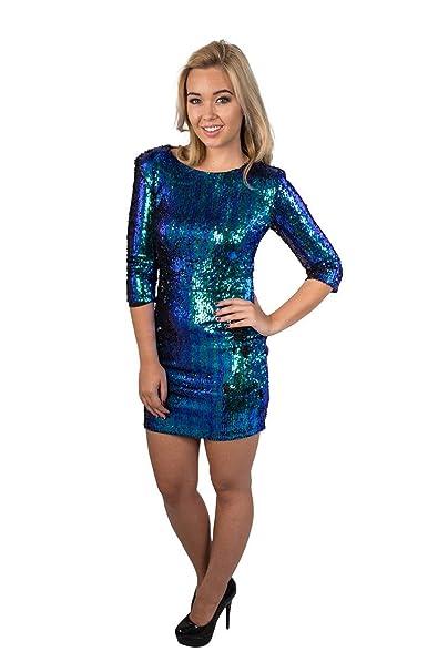 15ac8b6a742e GirlTalkFashion Iridescente Con paillettes Aderente Corto Blu Verde Abito -  sintetico