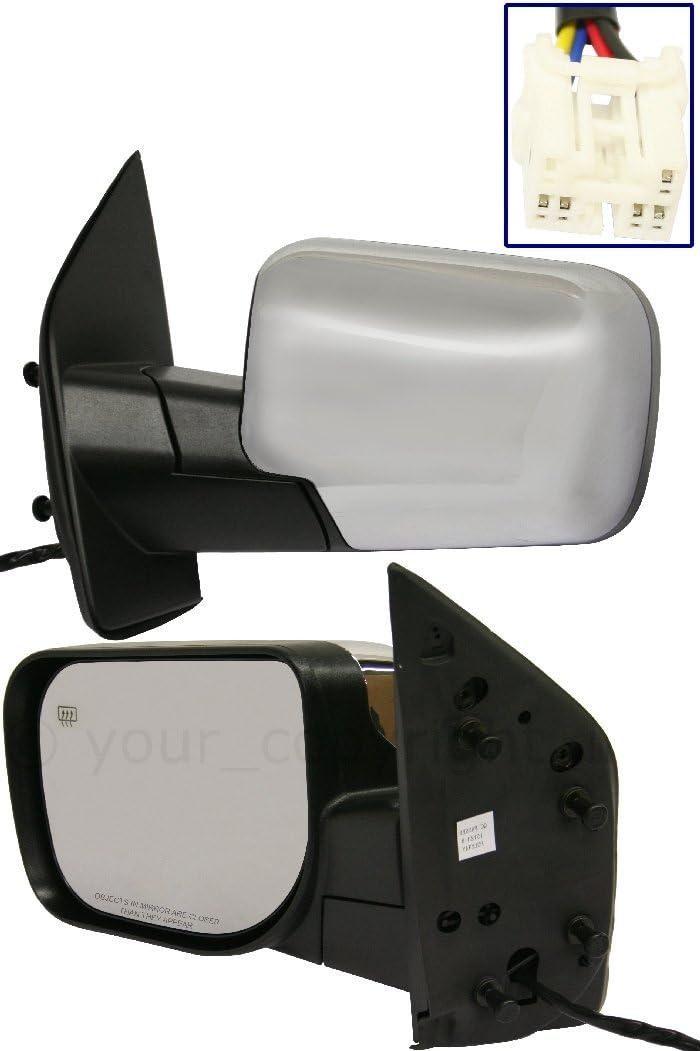 Power Heated Manual Folding Chrome Cap Mirror Left Driver Side For 04-12 Armada