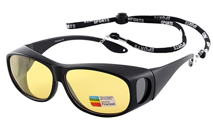 a38064769f1 Image Unavailable. Image not available for. Color  Night Vision Glasses HD  Yellow Polarized for Driving Wrap Around Sunglasses Over Prescription  Eyewear ...