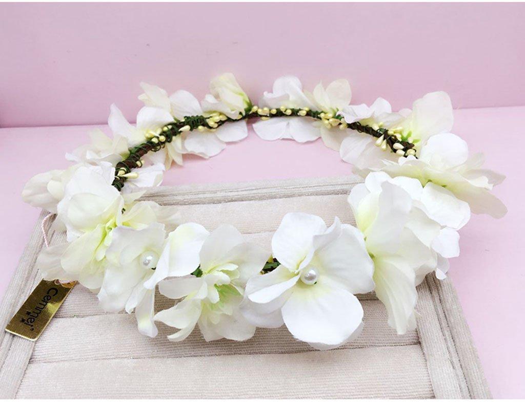 Wreath Flower, Headband Flower Garland Handmade Wedding Bride Party Ribbon Headband Wristband Hairband Purple/White (Color : C)