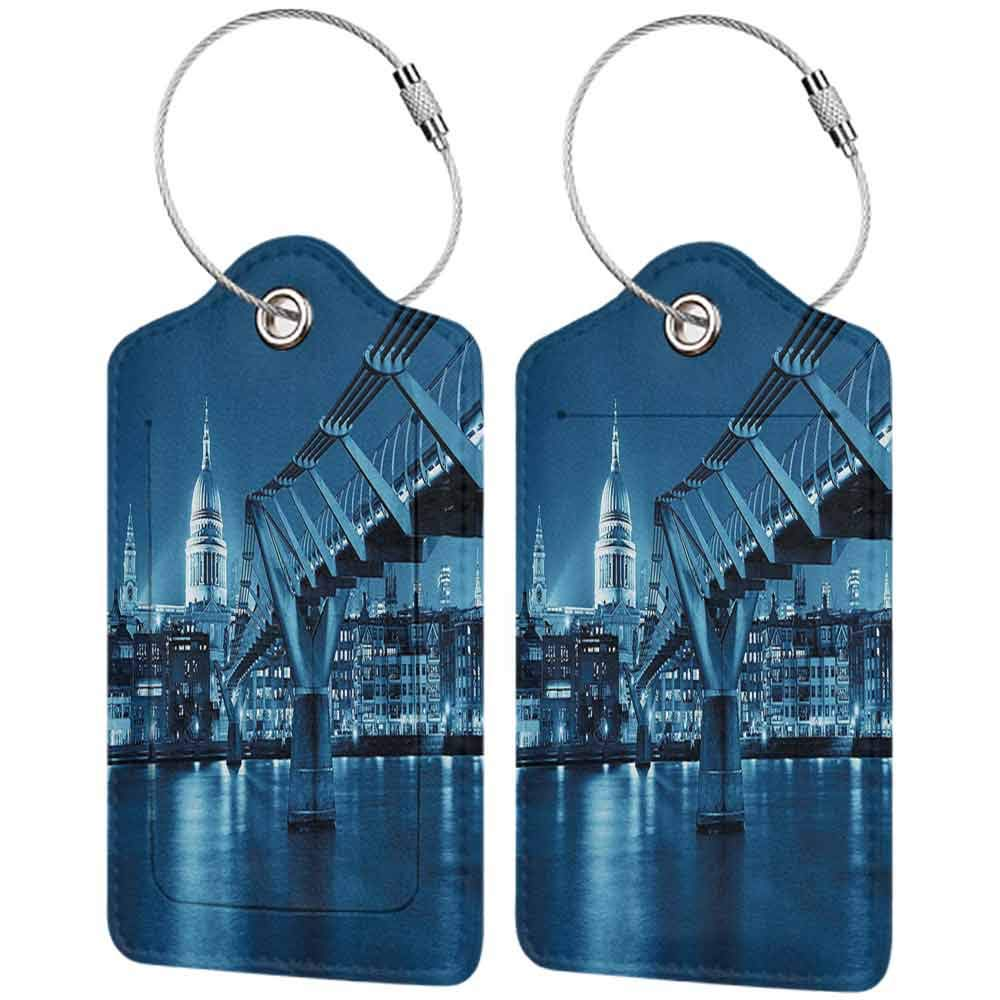 Small luggage tag Cityscape Millennium Bridge and St Pauls Cathedral at Night in London Monument Town Scenery Quickly find the suitcase Dark Blue W2.7 x L4.6