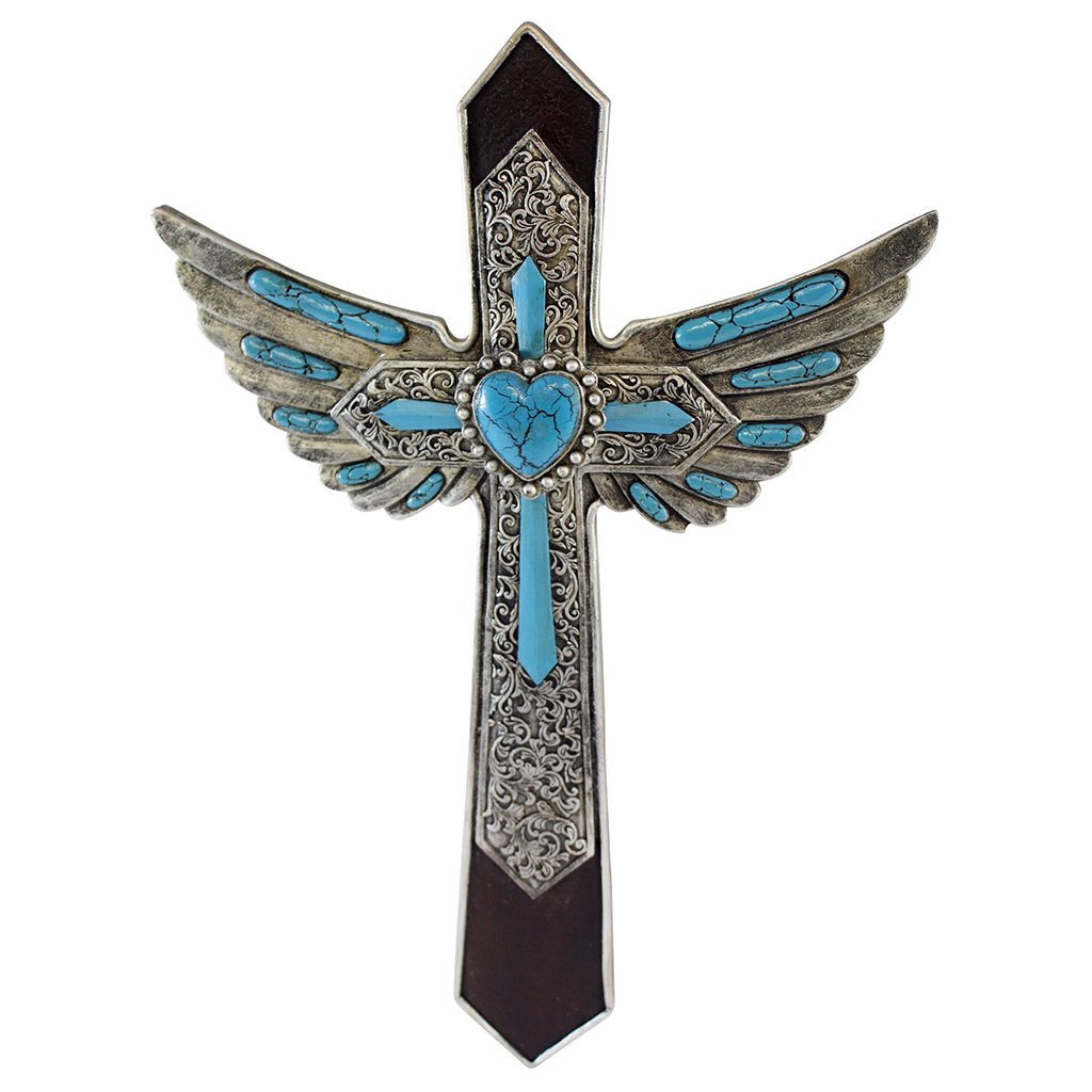 Pine Ridge Angel Wing Decorative Wall Cross - Modern Chic Christian Cross - Light-weight Polyresin Made Blue Cross With Wings Wall Decor