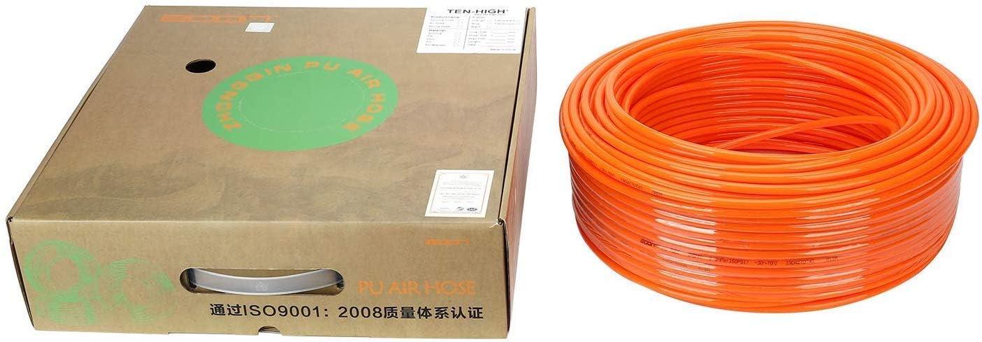 travaux de bois etc. TEN-HIGH Tuyau dair en polyur/éthane Pneumatique 5 mm ID x 8 mm AD Orange pour outils pneumatiques