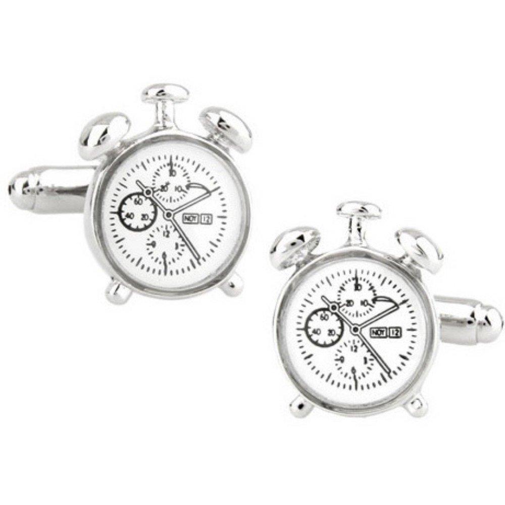 SS White Anti Alarm Clock Style Cufflinks for Men