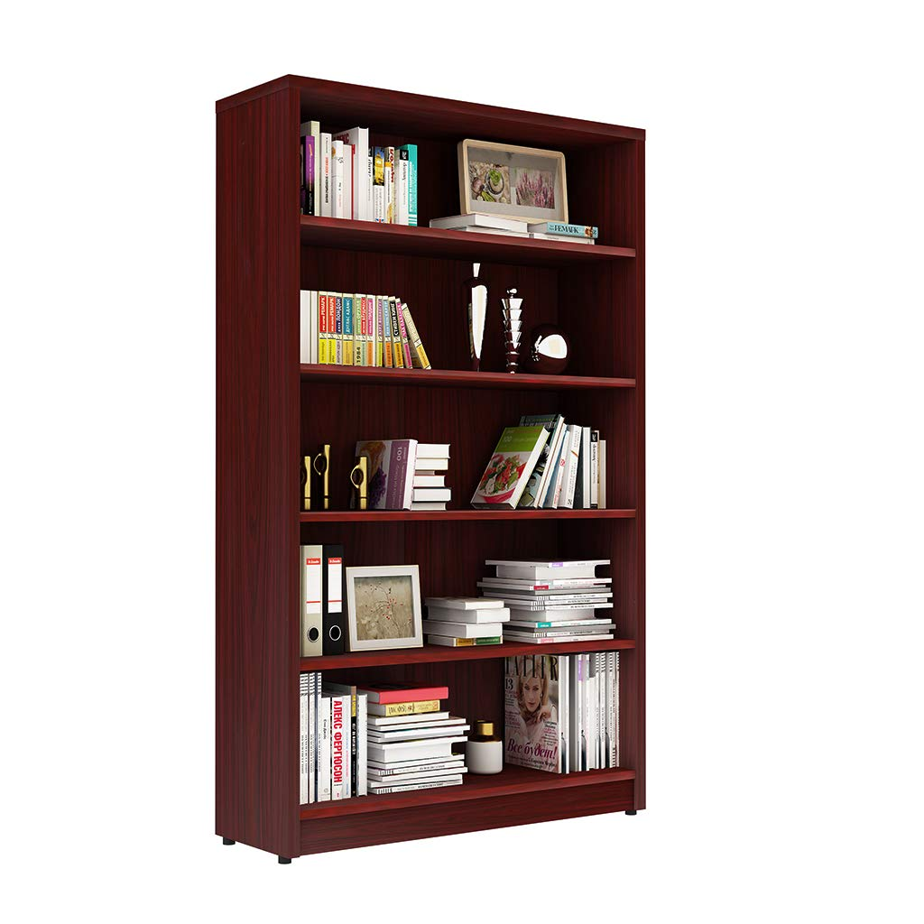 Sunon Collection 5-Shelf Wood Bookcase Freestanding Display Book Shelf Multimedia Storage Tower, Assembly Required (Mahogany)