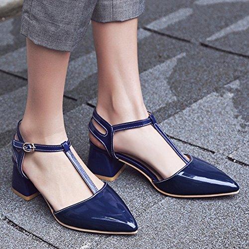 RAZAMAZA Mujer Moda T-Strap Tac¨®n Ancho Sandalias fiesta Zapatos Azul