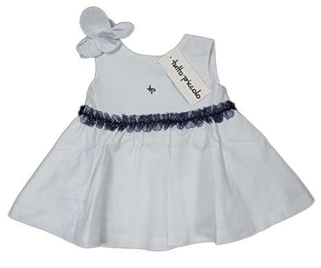 02244be14c TUTTO PICCOLO  quot Nautical quot  baby girls dress polka dots with chiffon  linen (white