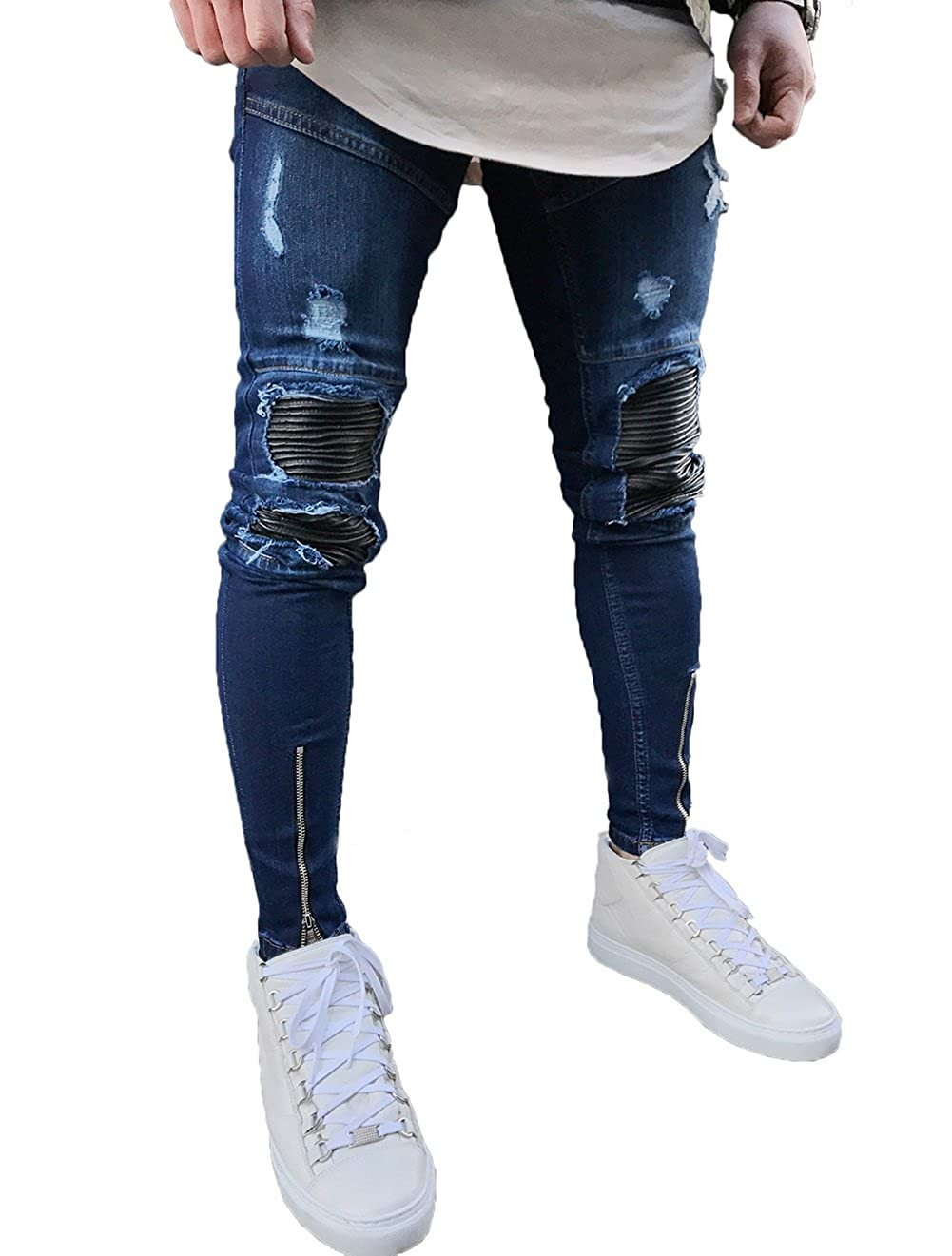 cb53d49b28ce XARAZA Men s Ripped Slim Fit Jeans Denim Pants with Broken Holes at Amazon  Men s Clothing store