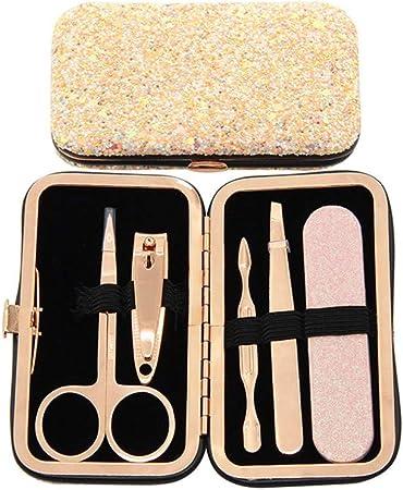 NIUJF - Kit de manicura y pedicura con Purpurina Intermitente, Juego de 5 Piezas portátil, Cuidado de Las uñas de Viaje, Mujer: Amazon.es: Hogar