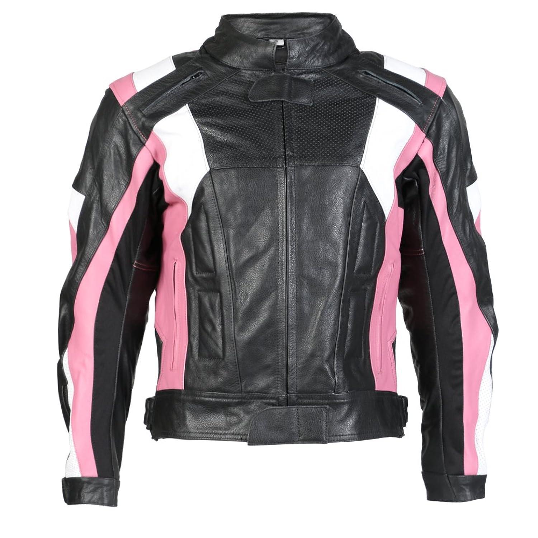 Motorcycle gloves pink - Ladies Texpeed Pink Black Armoured Leather Motorcycle Motorbike Jacket Uk 10 22